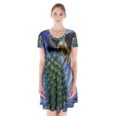 Chihuly Garden Bumble Short Sleeve V-neck Flare Dress