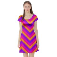 Chevron Short Sleeve Skater Dress