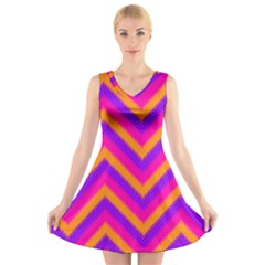 Chevron V-Neck Sleeveless Skater Dress