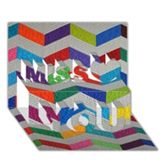 Charming Chevrons Quilt Miss You 3D Greeting Card (7x5)
