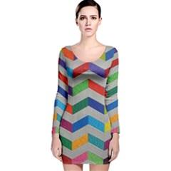 Charming Chevrons Quilt Long Sleeve Velvet Bodycon Dress