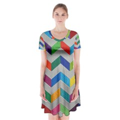 Charming Chevrons Quilt Short Sleeve V-neck Flare Dress