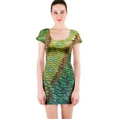 Chameleon Skin Texture Short Sleeve Bodycon Dress