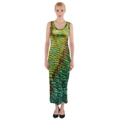 Chameleon Skin Texture Fitted Maxi Dress