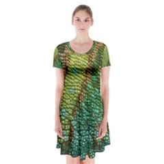 Chameleon Skin Texture Short Sleeve V-neck Flare Dress