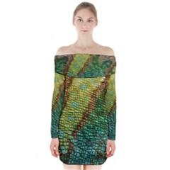 Chameleon Skin Texture Long Sleeve Off Shoulder Dress