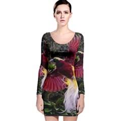 Cendrawasih Beautiful Bird Of Paradise Long Sleeve Velvet Bodycon Dress