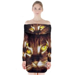 Cat Face Long Sleeve Off Shoulder Dress