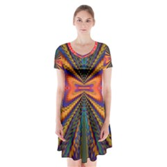 Casanova Abstract Art Colors Cool Druffix Flower Freaky Trippy Short Sleeve V-neck Flare Dress