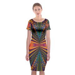 Casanova Abstract Art Colors Cool Druffix Flower Freaky Trippy Classic Short Sleeve Midi Dress