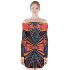 Casanova Abstract Art Colors Cool Druffix Flower Freaky Trippy Long Sleeve Off Shoulder Dress