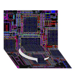 Cad Technology Circuit Board Layout Pattern Circle Bottom 3D Greeting Card (7x5)