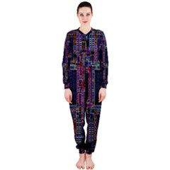Cad Technology Circuit Board Layout Pattern OnePiece Jumpsuit (Ladies)