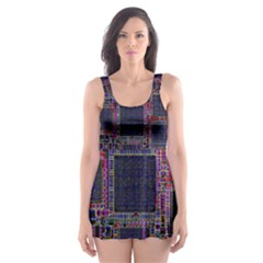 Cad Technology Circuit Board Layout Pattern Skater Dress Swimsuit