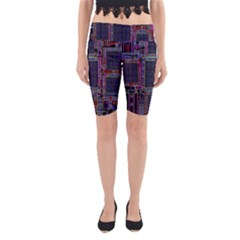 Cad Technology Circuit Board Layout Pattern Yoga Cropped Leggings