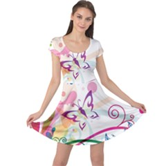 Butterfly Vector Art Cap Sleeve Dresses