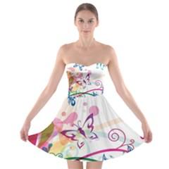 Butterfly Vector Art Strapless Bra Top Dress