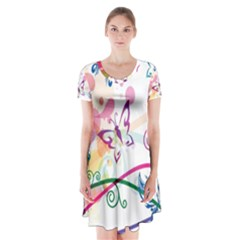 Butterfly Vector Art Short Sleeve V-neck Flare Dress