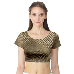 Brushed Gold Short Sleeve Crop Top (Tight Fit)