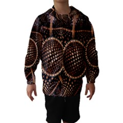 Brown Fractal Balls And Circles Hooded Wind Breaker (Kids)
