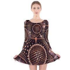 Brown Fractal Balls And Circles Long Sleeve Velvet Skater Dress
