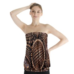 Brown Fractal Balls And Circles Strapless Top