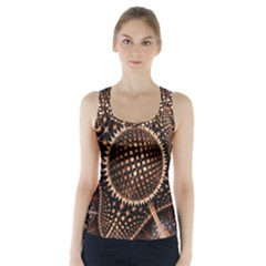 Brown Fractal Balls And Circles Racer Back Sports Top
