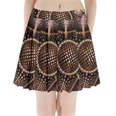 Brown Fractal Balls And Circles Pleated Mini Skirt
