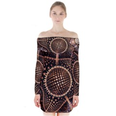 Brown Fractal Balls And Circles Long Sleeve Off Shoulder Dress