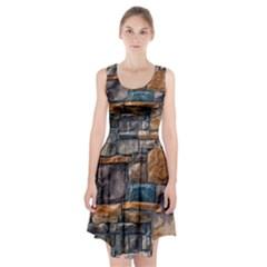 Brick Wall Pattern Racerback Midi Dress