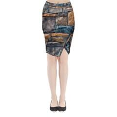 Brick Wall Pattern Midi Wrap Pencil Skirt