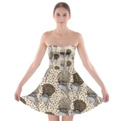 Bouffant Birds Strapless Bra Top Dress