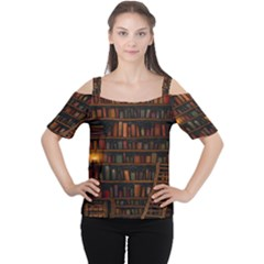 Books Library Women s Cutout Shoulder Tee