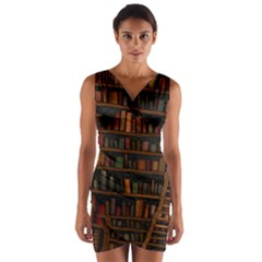 Books Library Wrap Front Bodycon Dress