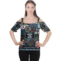 Book Quote Collage Women s Cutout Shoulder Tee