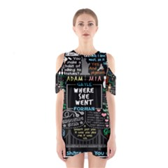 Book Quote Collage Cutout Shoulder Dress