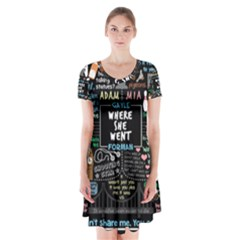 Book Quote Collage Short Sleeve V-neck Flare Dress