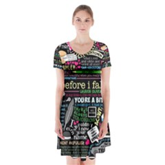 Book Collage For Before I Fall Short Sleeve V-neck Flare Dress