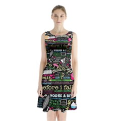 Book Collage For Before I Fall Sleeveless Chiffon Waist Tie Dress