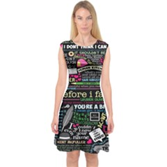 Book Collage For Before I Fall Capsleeve Midi Dress