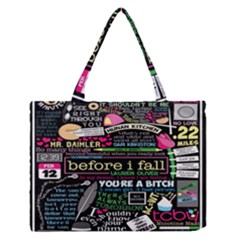 Book Collage For Before I Fall Medium Zipper Tote Bag