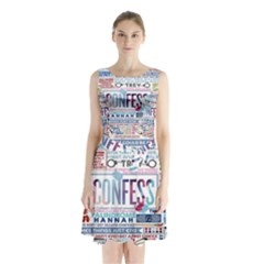Book Collage Based On Confess Sleeveless Chiffon Waist Tie Dress