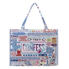 Book Collage Based On Confess Medium Tote Bag