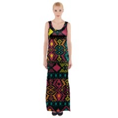 Bohemian Patterns Tribal Maxi Thigh Split Dress