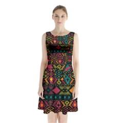 Bohemian Patterns Tribal Sleeveless Chiffon Waist Tie Dress