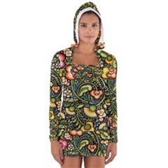 Bohemia Floral Pattern Women s Long Sleeve Hooded T-shirt