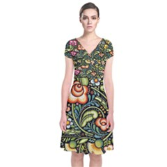 Bohemia Floral Pattern Short Sleeve Front Wrap Dress