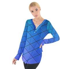 Blue Pattern Plain Cartoon Women s Tie Up Tee