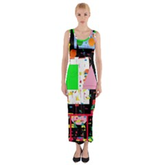 Colorful facroty Fitted Maxi Dress