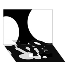 Black and white moonlight LOVE Bottom 3D Greeting Card (7x5)